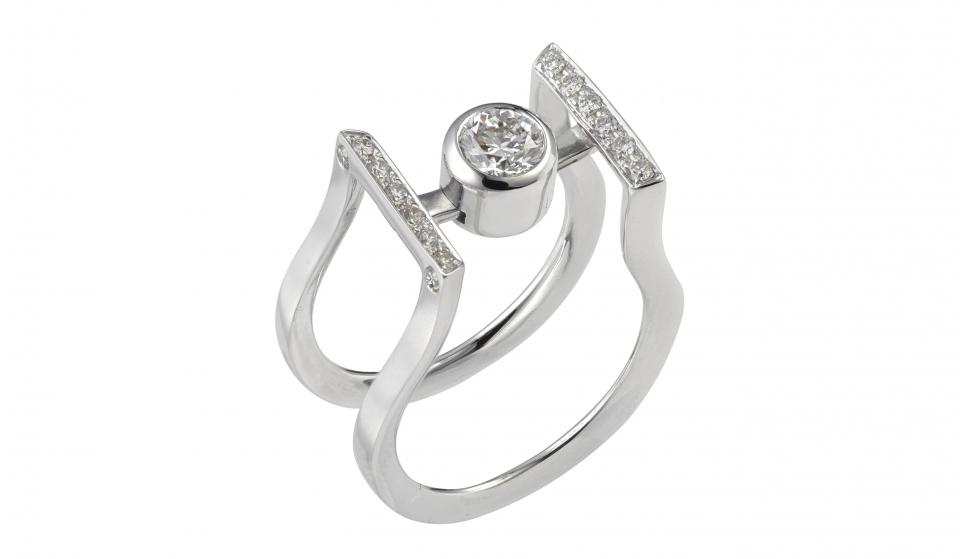 bague or blanc 13 diamants - V2V paris joaillerie