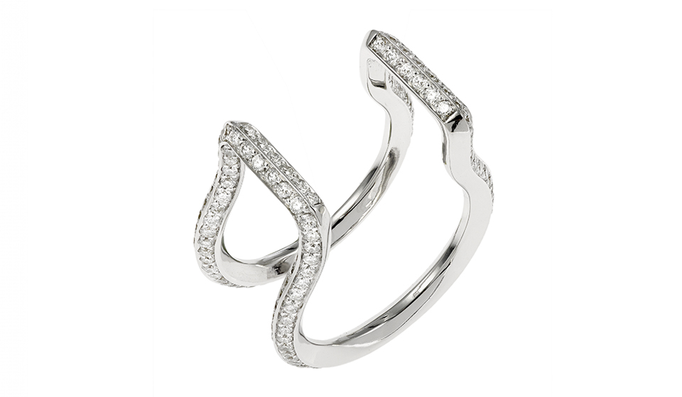Vague numero 6 or blanc et diamant Haut V2V Paris